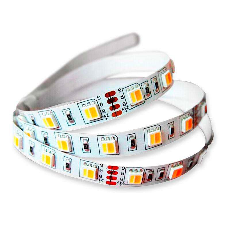 Tira LED FOOD Tricolor SMD5050, DC12V, 5m (60 Led/m) - IP20, Blanco tricolor
